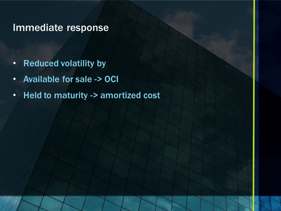 Immediate response Reduced volatility by Available for sale -> OCI