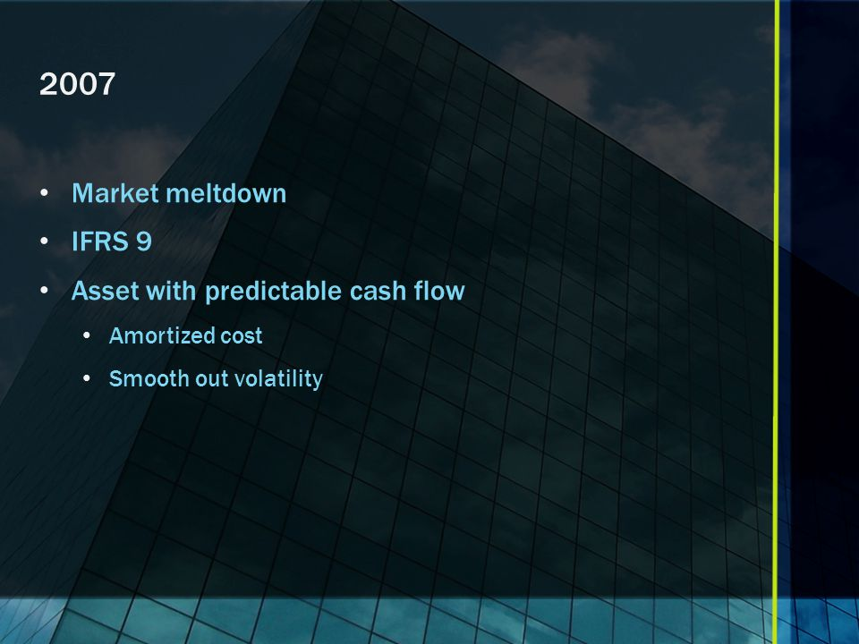 2007 Market meltdown IFRS 9 Asset with predictable cash flow