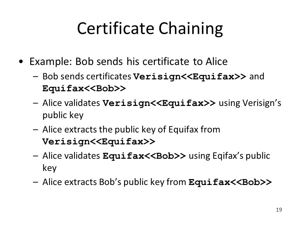 Certificate Chaining Example: Bob sends his certificate to Alice