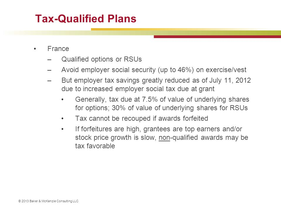 Tax-Qualified Plans France Qualified options or RSUs