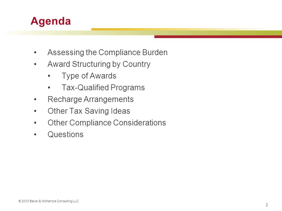 Agenda Assessing the Compliance Burden Award Structuring by Country
