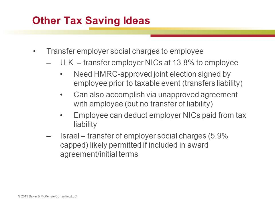 Other Tax Saving Ideas Transfer employer social charges to employee