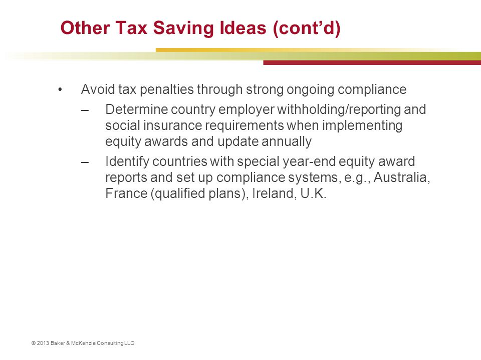 Other Tax Saving Ideas (cont'd)