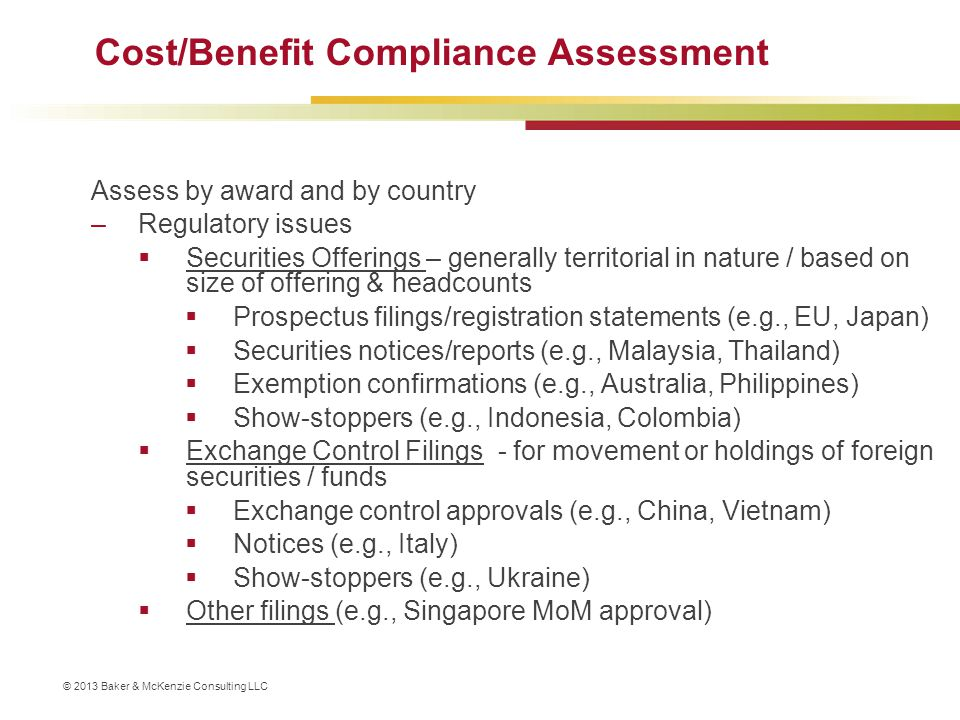 Cost/Benefit Compliance Assessment