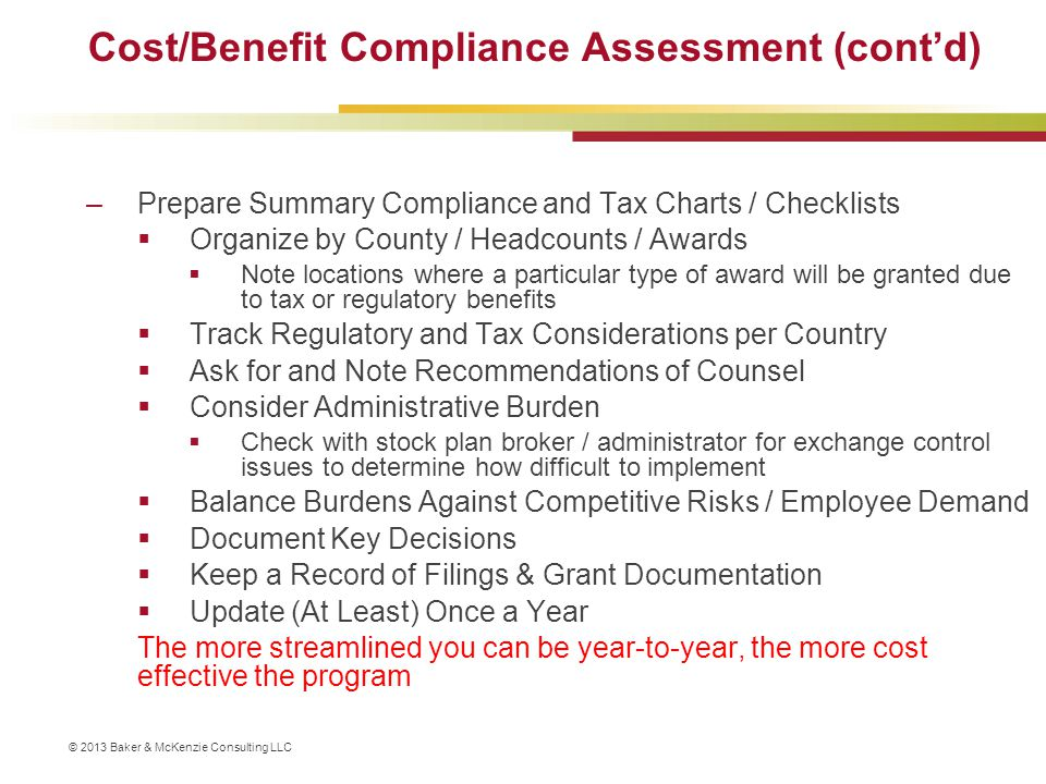 Cost/Benefit Compliance Assessment (cont'd)