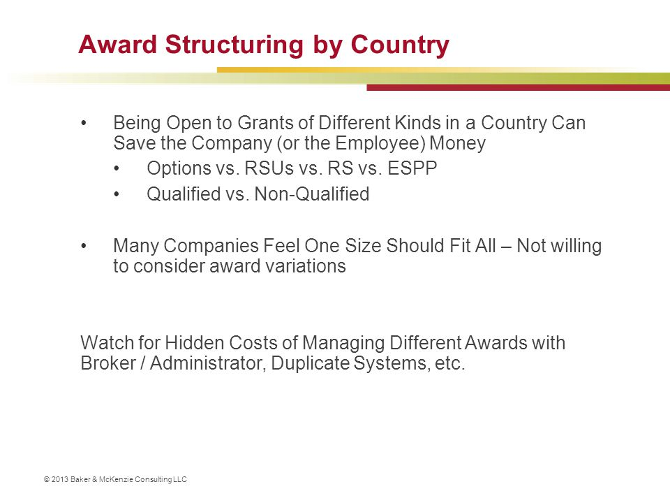 Award Structuring by Country