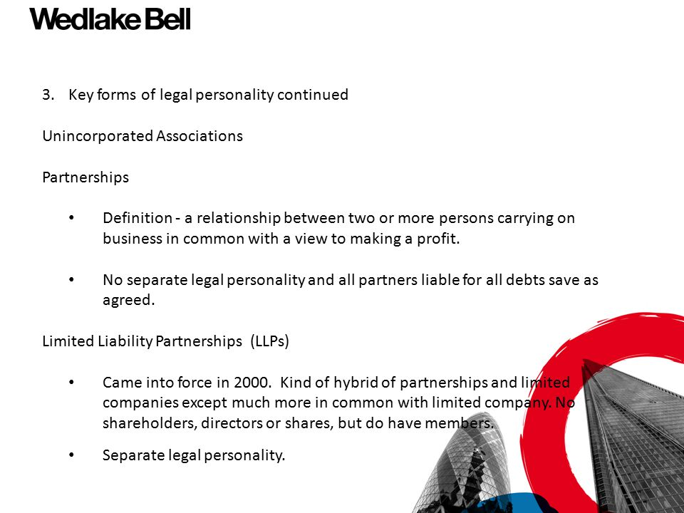 3. Key forms of legal personality continued