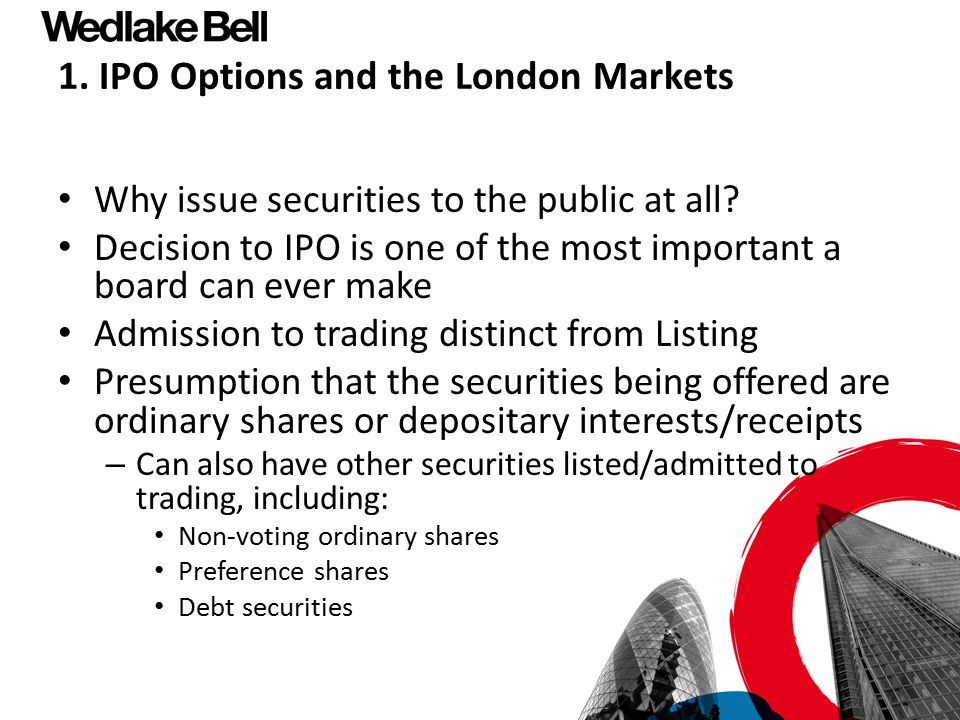 1. IPO Options and the London Markets