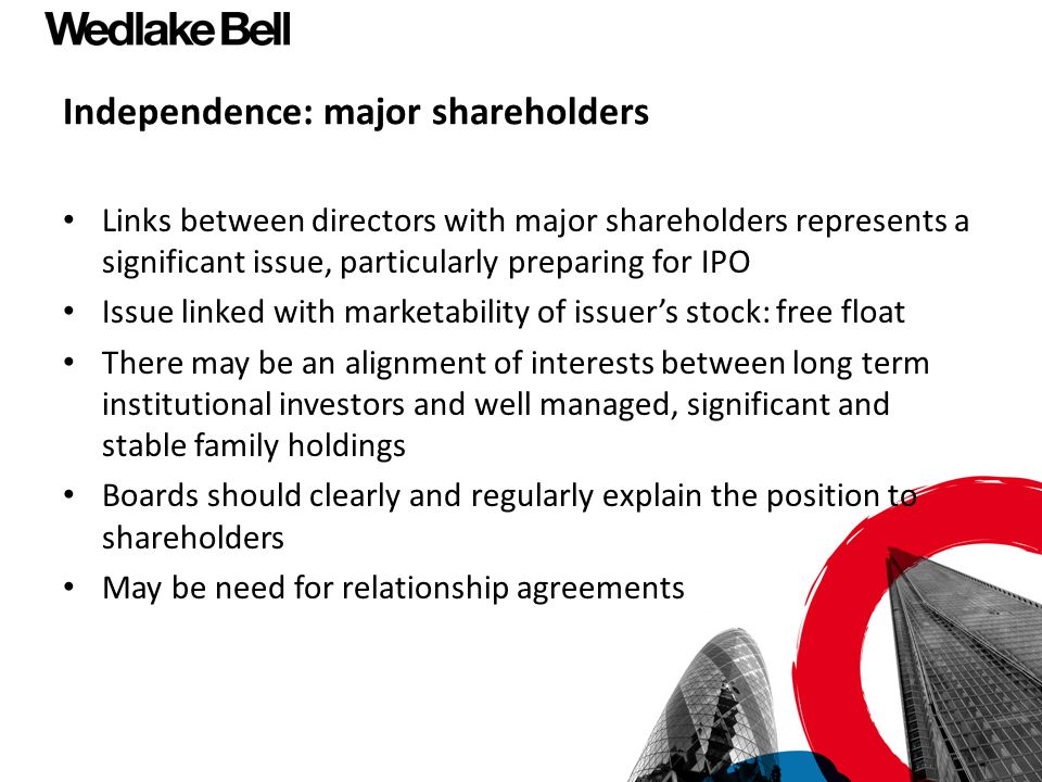 Independence: major shareholders