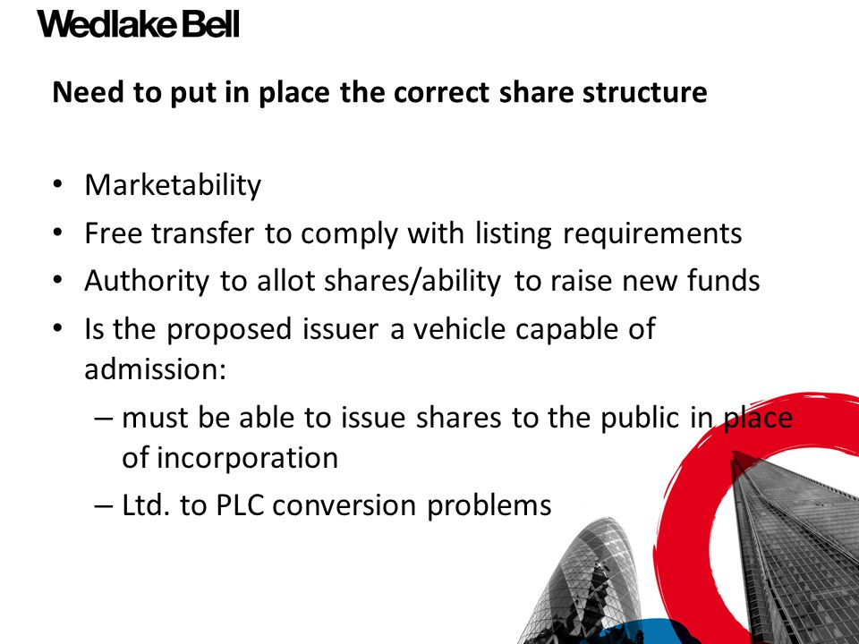 Need to put in place the correct share structure