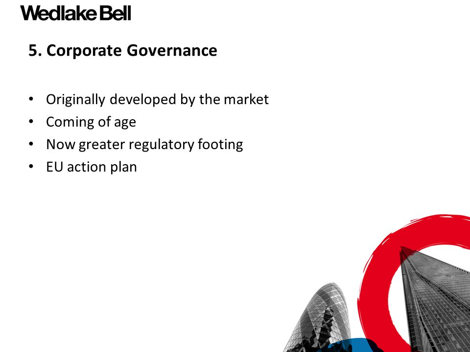 5. Corporate Governance Originally developed by the market