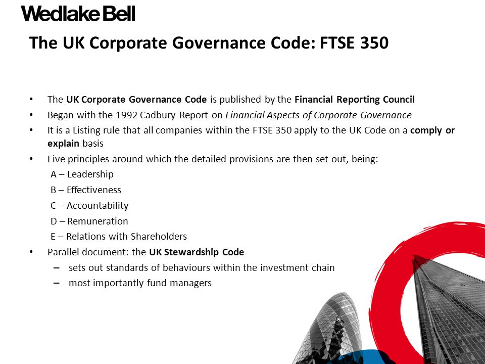 The UK Corporate Governance Code: FTSE 350