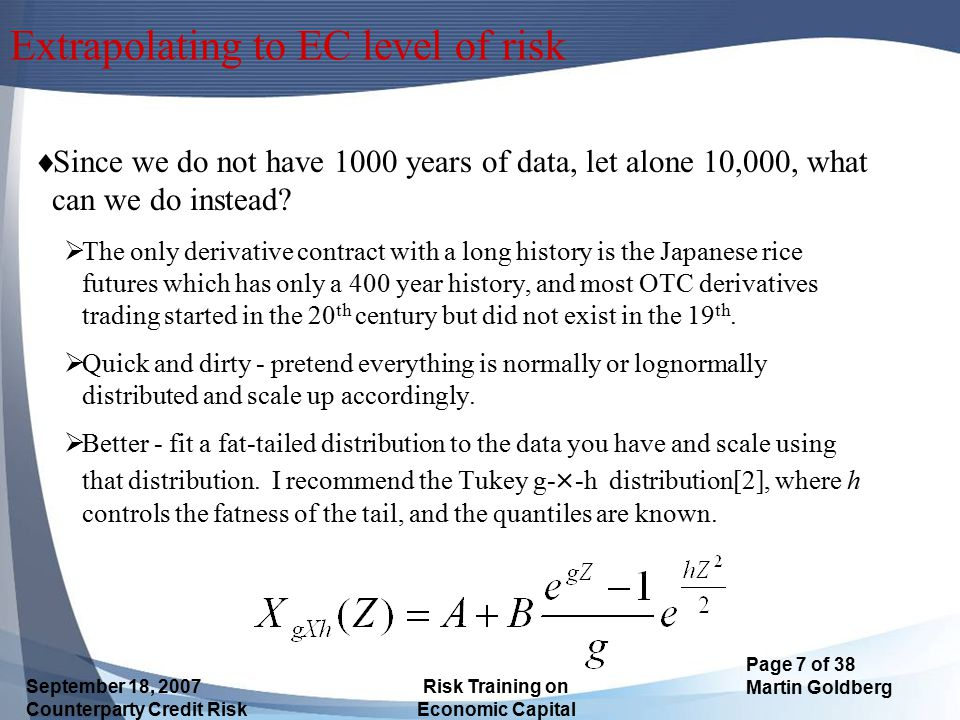 Extrapolating to EC level of risk