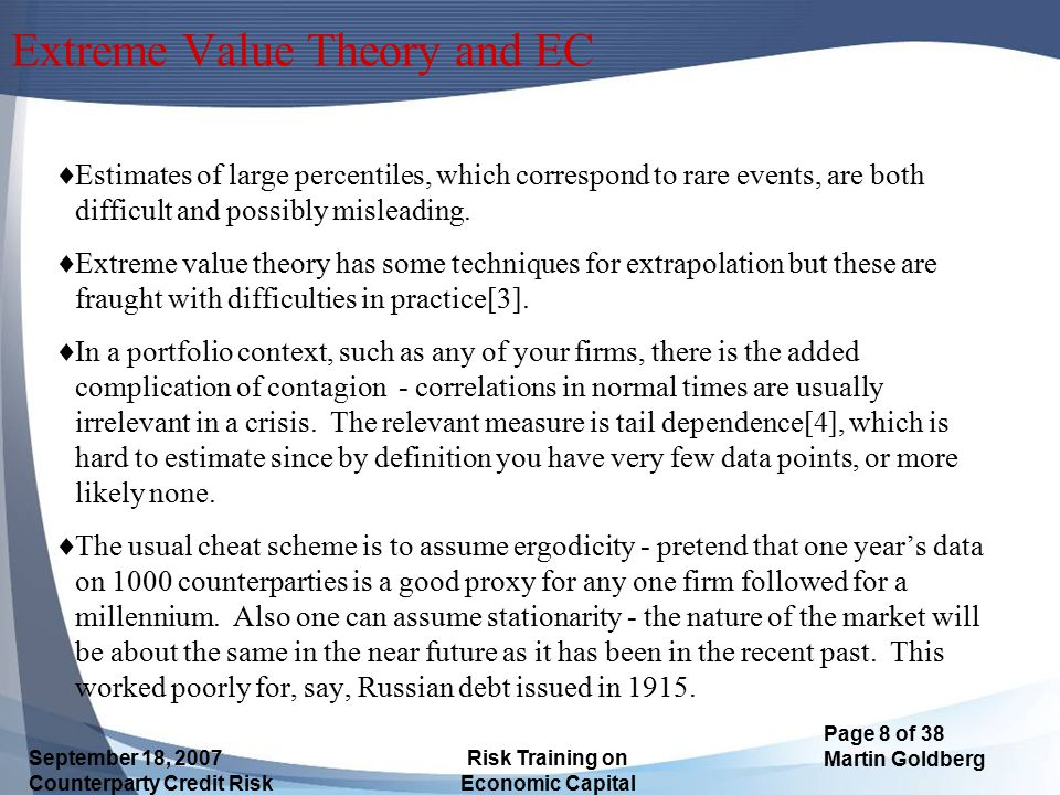 Extreme Value Theory and EC