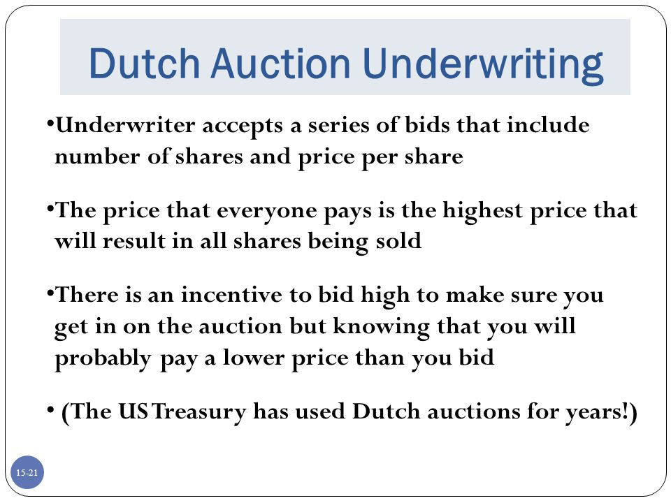 Dutch Auction Underwriting