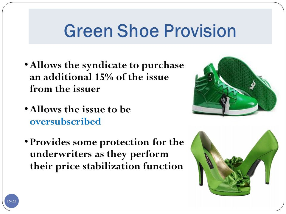Green Shoe Provision Allows the syndicate to purchase an additional 15% of the issue from the issuer.