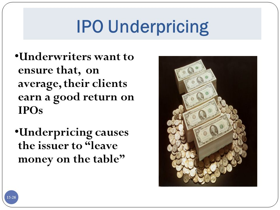 IPO Underpricing Underwriters want to ensure that, on average, their clients earn a good return on IPOs.