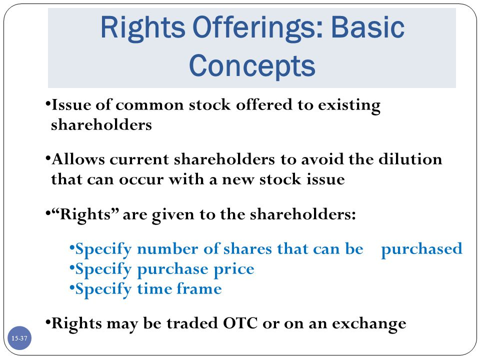 Rights Offerings: Basic Concepts