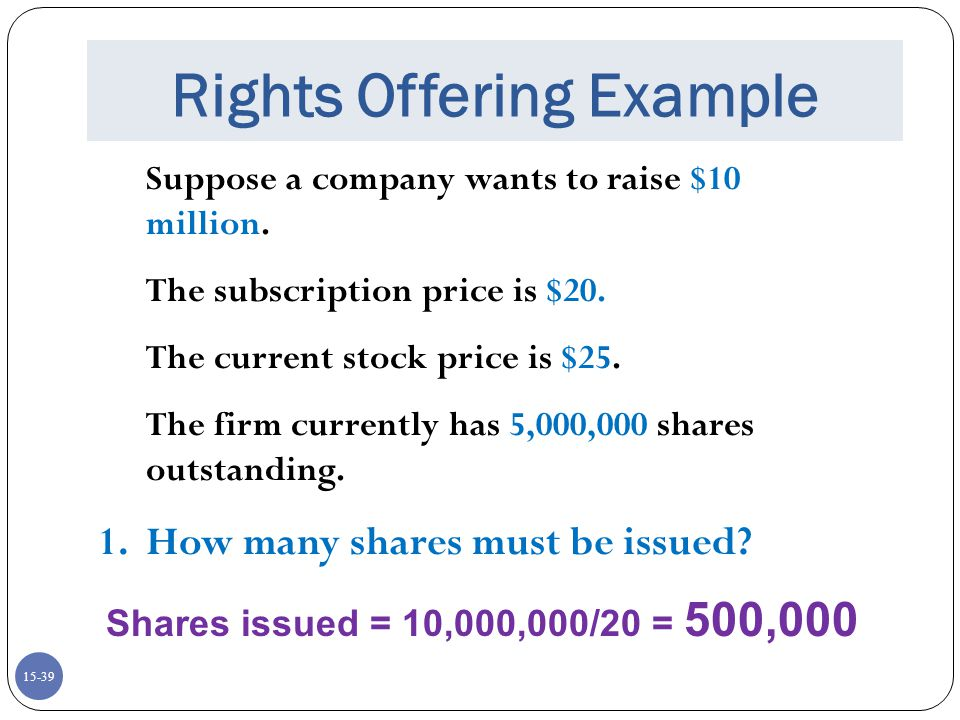 Rights Offering Example