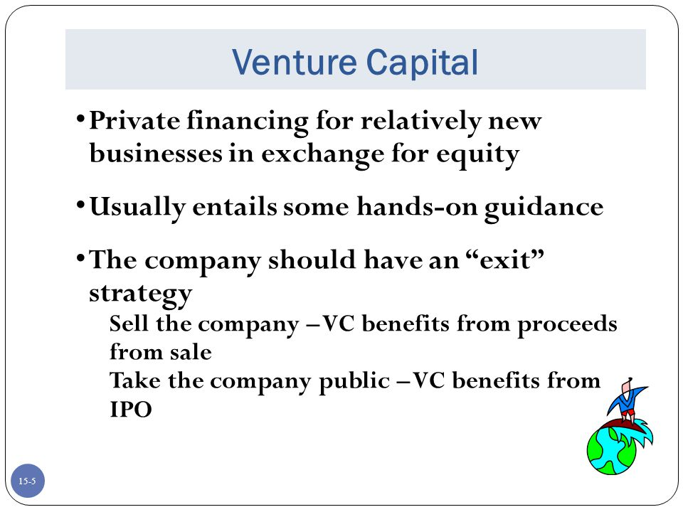 Venture Capital Private financing for relatively new businesses in exchange for equity. Usually entails some hands-on guidance.