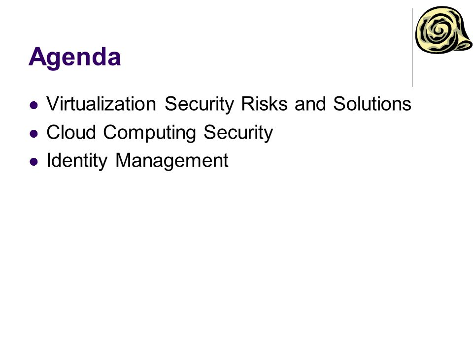 Agenda Virtualization Security Risks and Solutions
