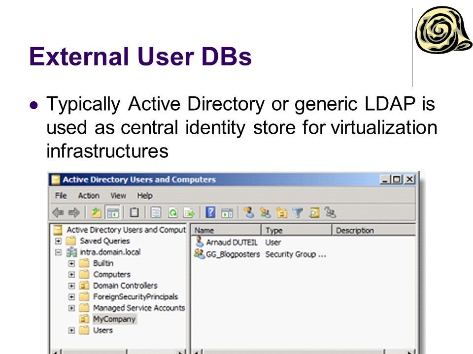 External User DBs Typically Active Directory or generic LDAP is used as central identity store for virtualization infrastructures.