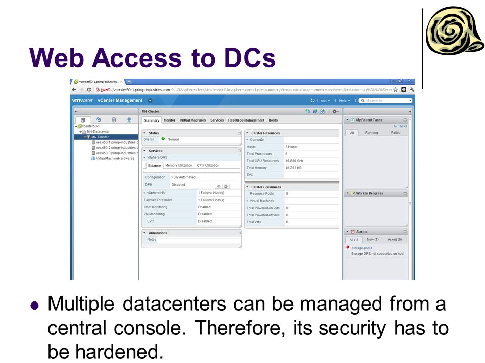 Web Access to DCs Multiple datacenters can be managed from a central console.