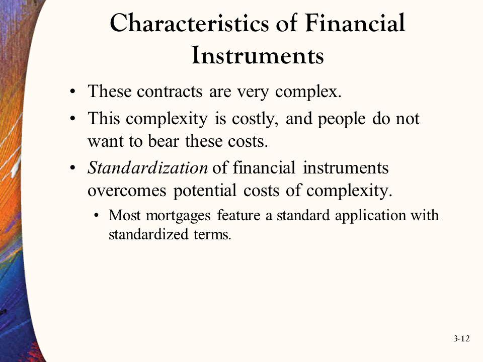 Characteristics of Financial Instruments
