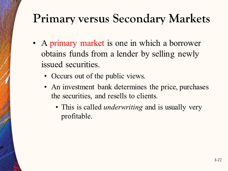 Primary versus Secondary Markets