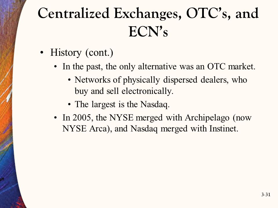 Centralized Exchanges, OTC's, and ECN's