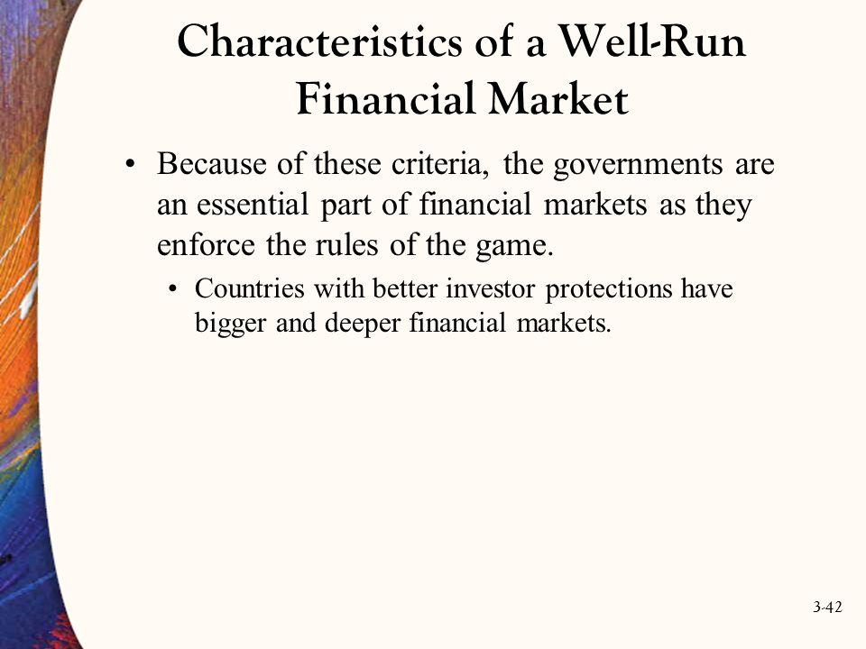 Characteristics of a Well-Run Financial Market