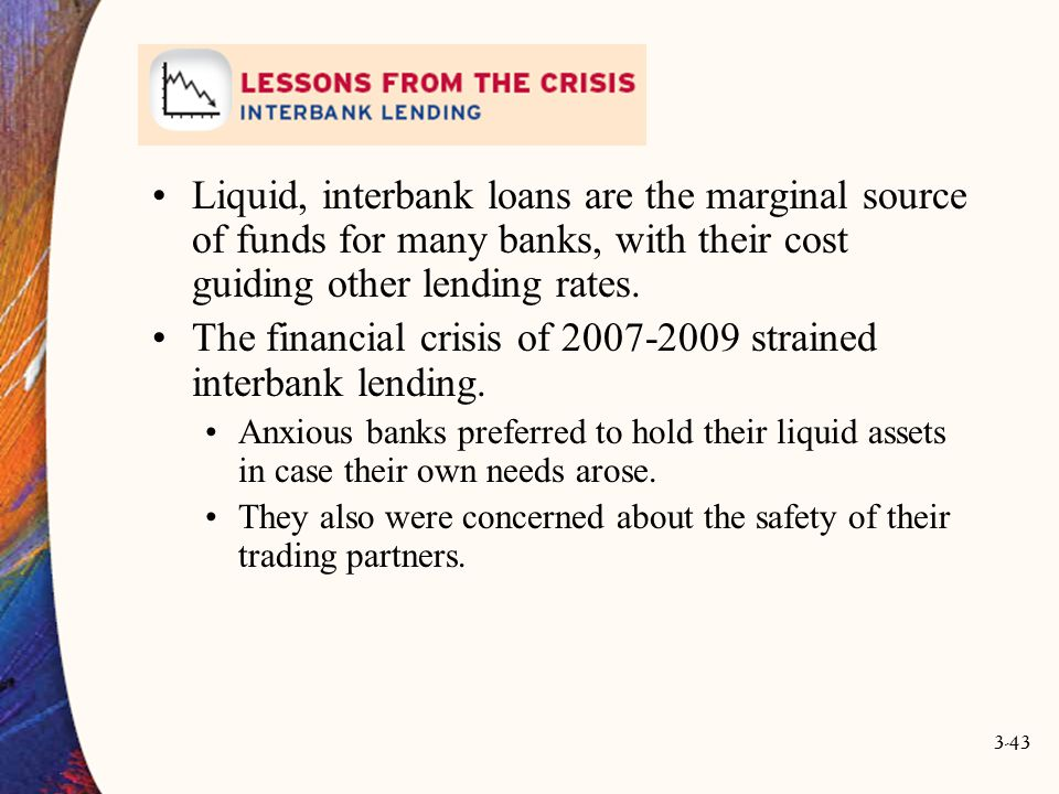 The financial crisis of 2007-2009 strained interbank lending.