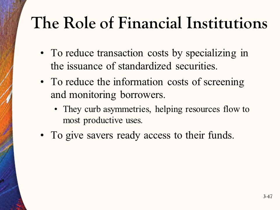 The Role of Financial Institutions