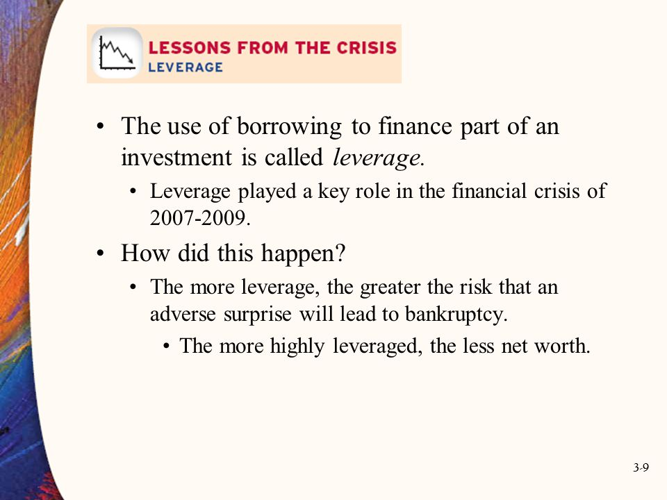 The use of borrowing to finance part of an investment is called leverage.