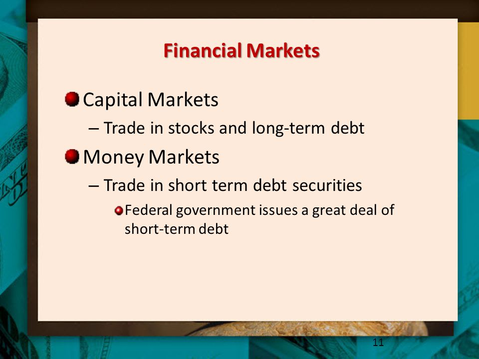 Financial Markets Capital Markets Money Markets