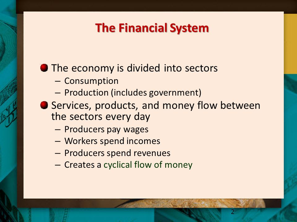The Financial System The economy is divided into sectors