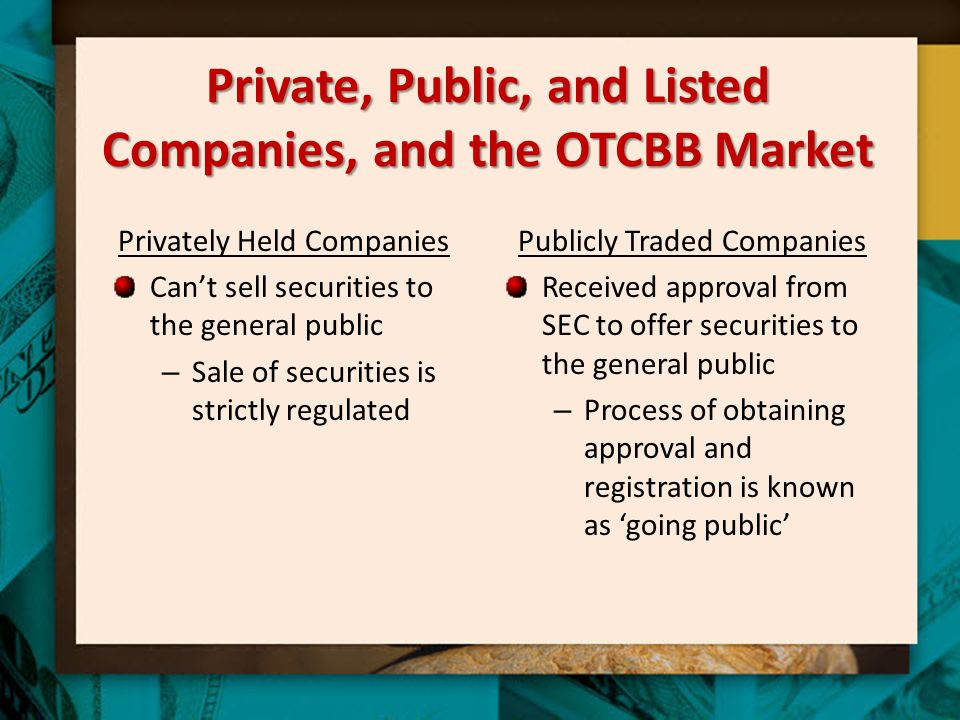 Private, Public, and Listed Companies, and the OTCBB Market