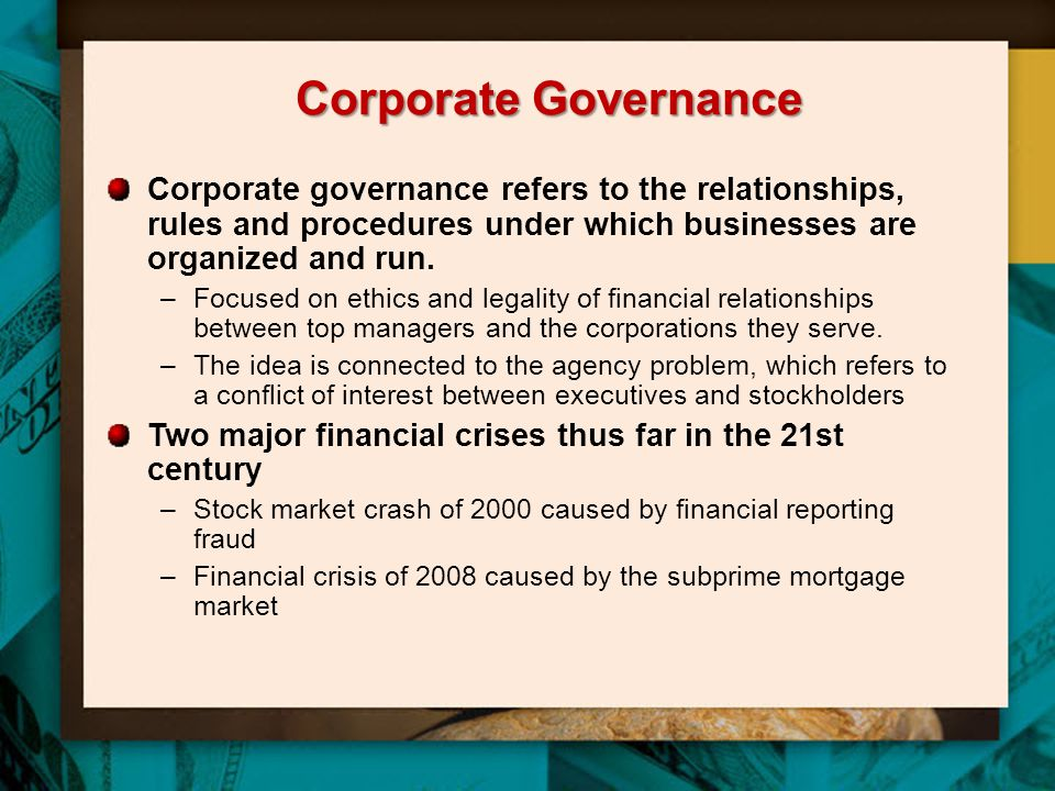 Corporate Governance Corporate governance refers to the relationships, rules and procedures under which businesses are organized and run.