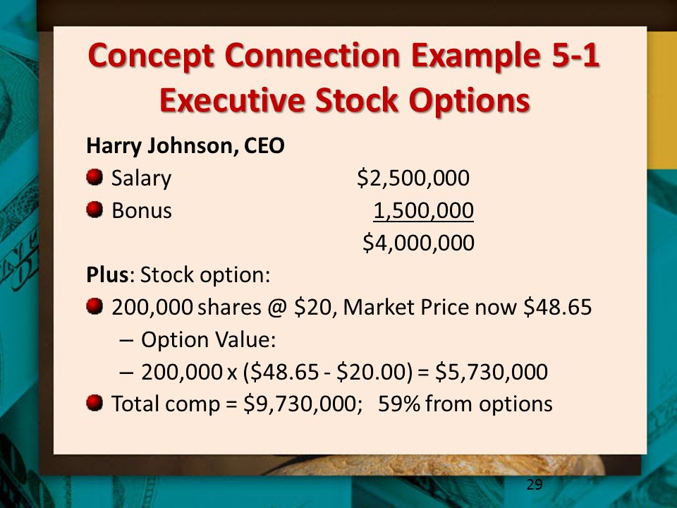 Concept Connection Example 5-1 Executive Stock Options