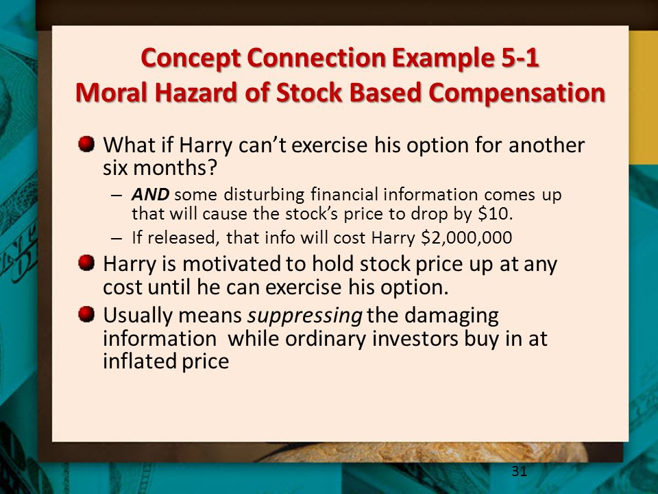 Concept Connection Example 5-1 Moral Hazard of Stock Based Compensation