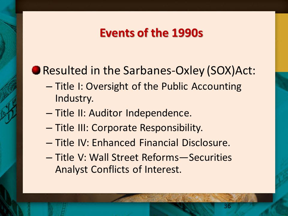 Resulted in the Sarbanes-Oxley (SOX)Act: