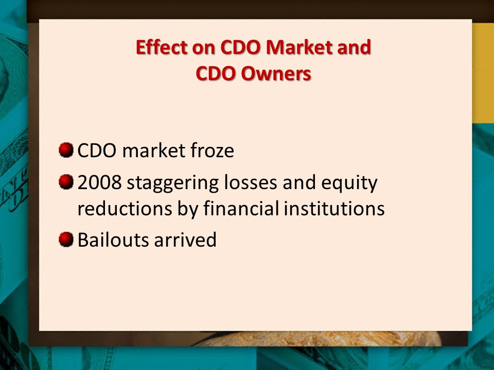 Effect on CDO Market and CDO Owners