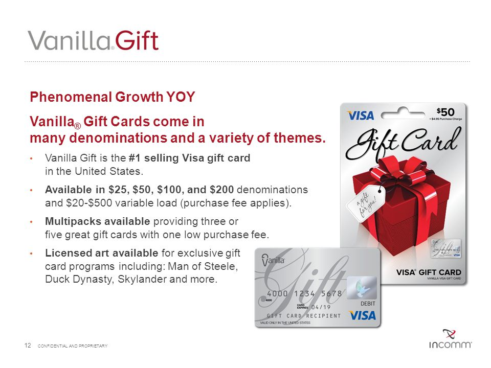 Phenomenal Growth YOY Vanilla® Gift Cards come in many denominations and a variety of themes.
