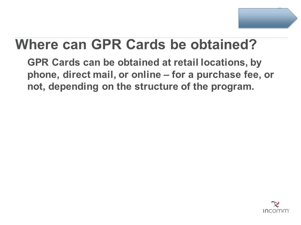 Where can GPR Cards be obtained