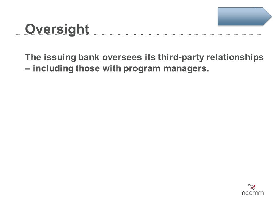 Oversight The issuing bank oversees its third-party relationships – including those with program managers.