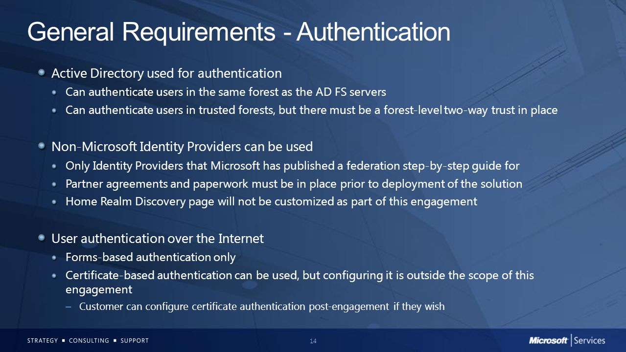 General Requirements - Authentication