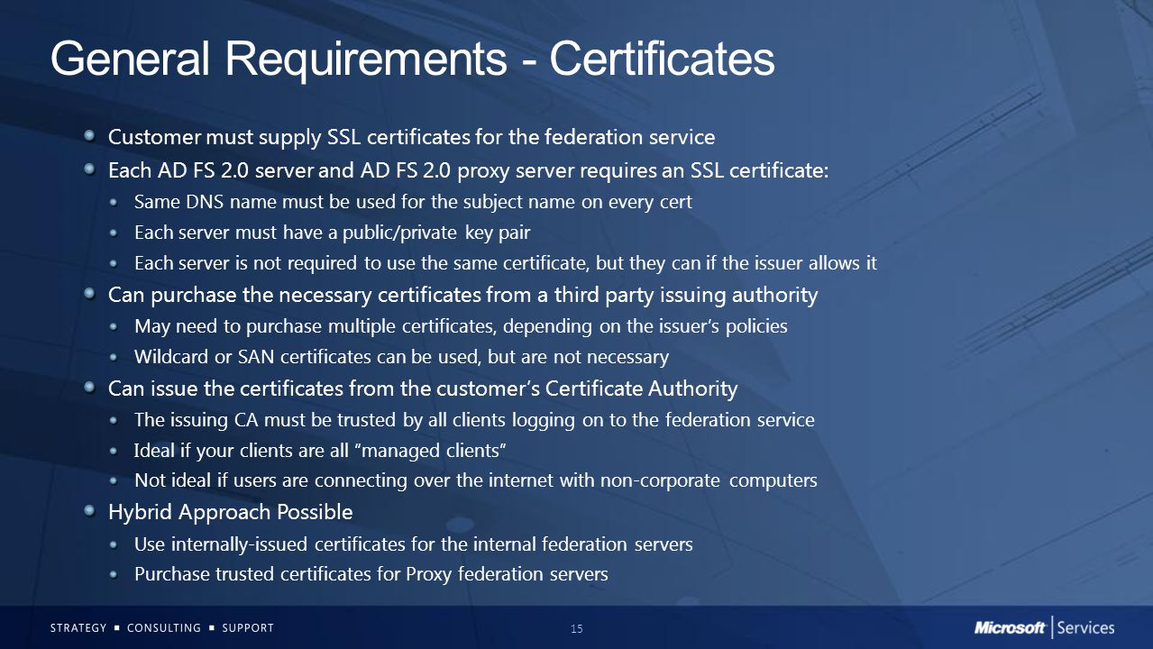 General Requirements - Certificates