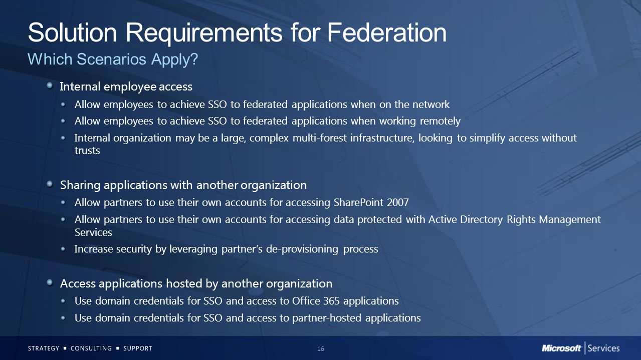 Solution Requirements for Federation