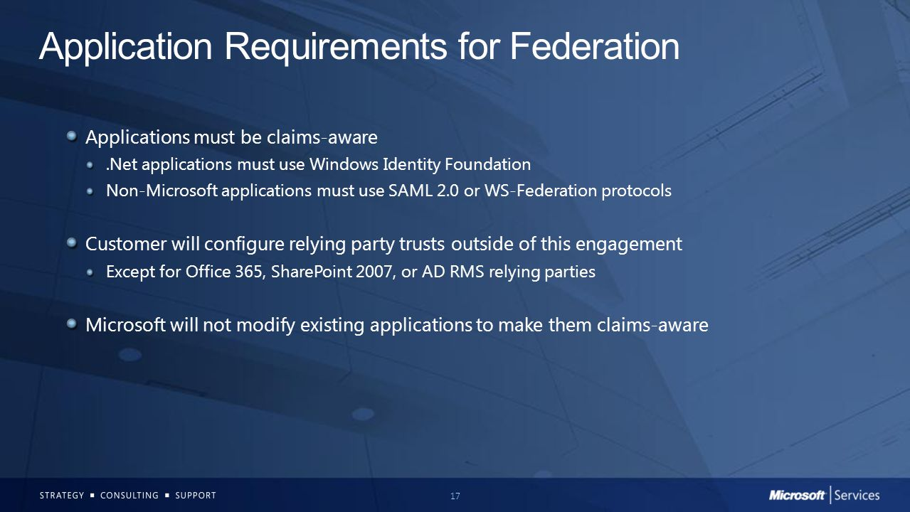 Application Requirements for Federation