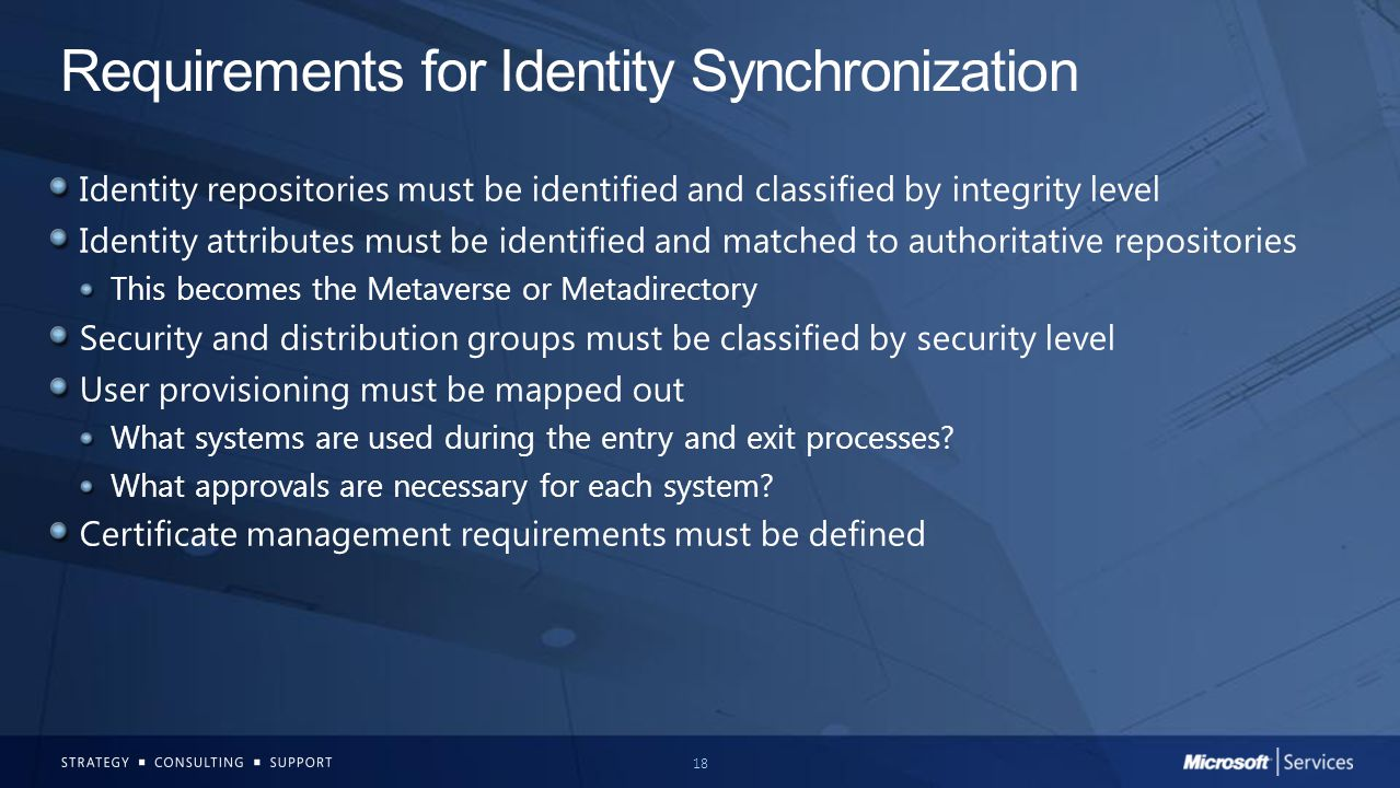 Requirements for Identity Synchronization